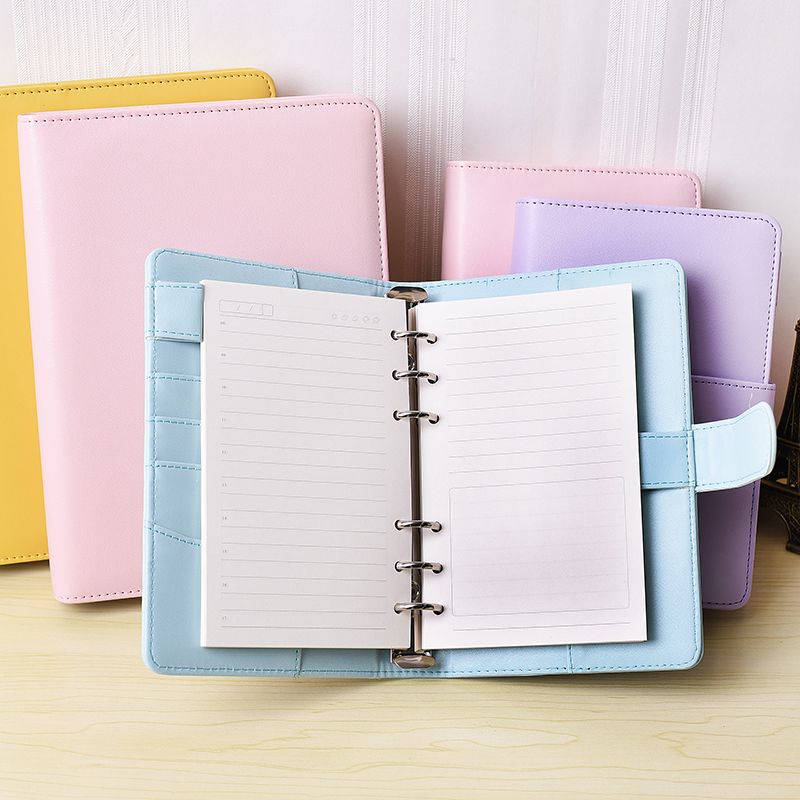 RuiZe Leather Spiral Notebook A5 A6 Korean Stationery Note Book 6 Ring Binder Spiral Notebook Agenda 2020 Office Supplies
