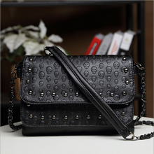 stacy bag hot sale women handbag female fashion punk rivet shoulder bag lady skull print bag