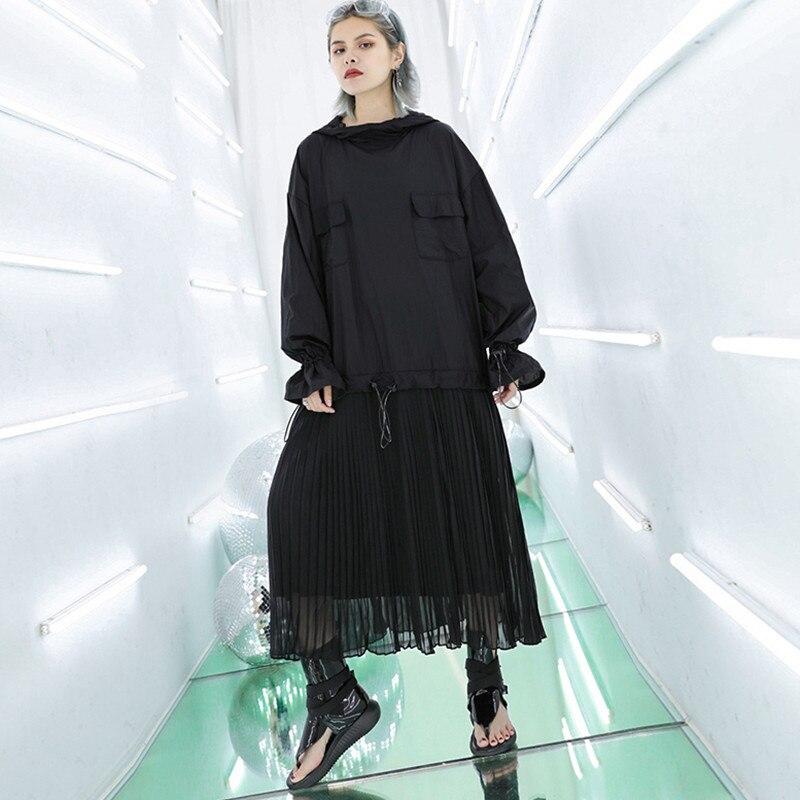 Johnature 2019 Streetwear manches longues col à capuche grande taille lâche Patchwork robes en mousseline de soie été nouvelle mode robe noire