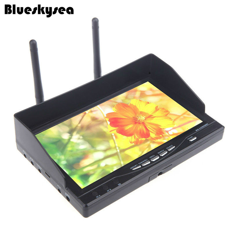 Blueskysea FPV RX-LCD5802 5.8G 40CH HD 800*480p 7 Monitor Receiver Built-in Battery 2pcs fpv 7 inch monitor displayer pvr 732 built in battery dual 32ch 5 8ghz diversity receivers hd screen free shipping