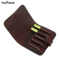 Tourbon Tactical Hunting Cartridge Ammo Shells Holder Pouch Genuine Leather 5 Rifle Bullet Rounds Wallet Carrier Gun Accessories