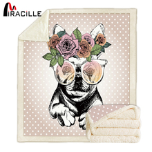 Miracille Printed French Bulldog Blanket Super Soft Sherpa Fleece TV Blankets On Sofa Travel Bedding Kids Bedspread