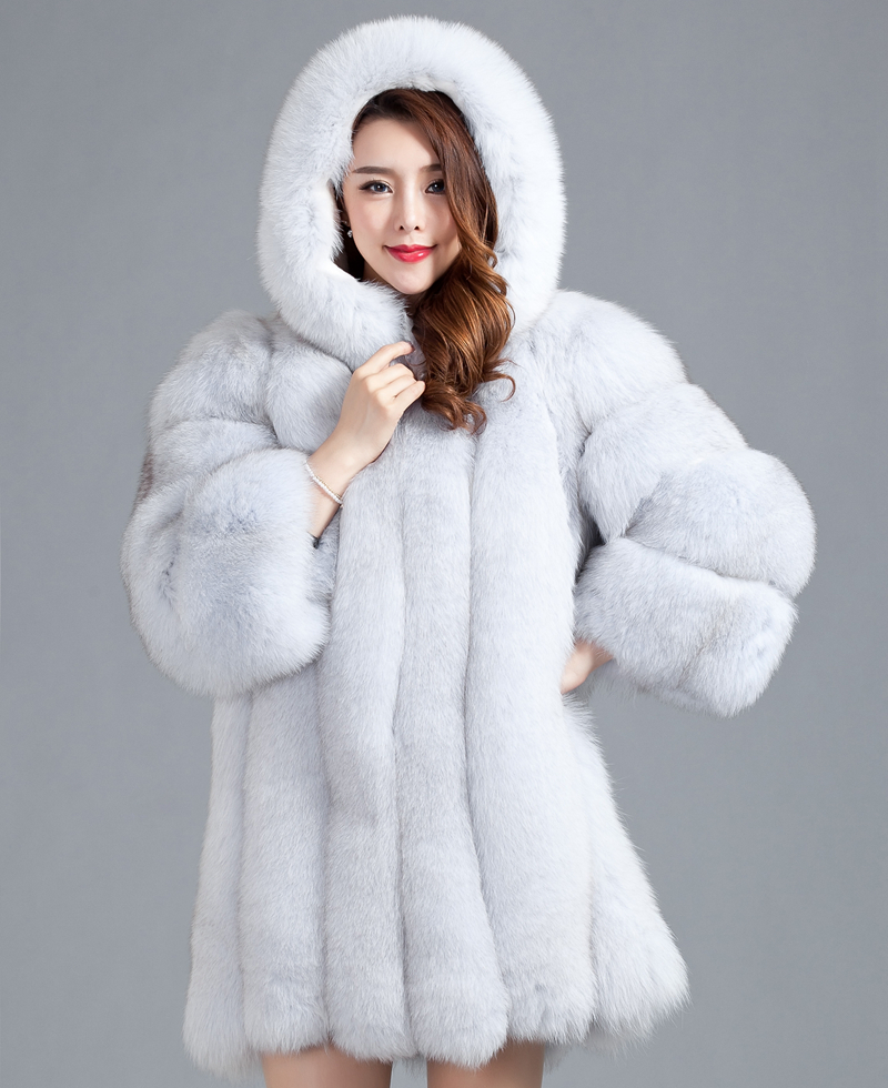 2015 Luxury Ladies Real Fox Fur Coat Jacket Cotton Lining with Hooded Winter Women Fur Outerwear