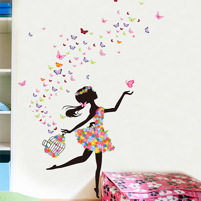 Colorful buterfly flower girl wall sticker home decor pvc flower skirt wall paper removable ropa para perros vestidos vinyl wall in wall stickers from home