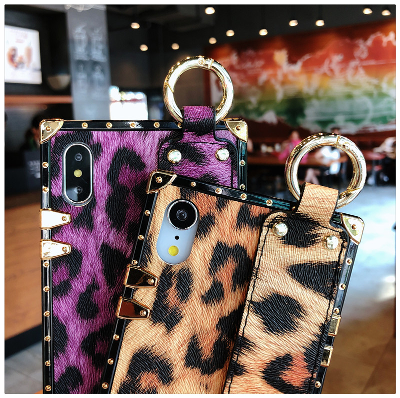 Luxury brand Square Leopard print rose flower case for iphone 7 8 6 6s plus girl women phone case for iphone X XS Max Xr cover (9)
