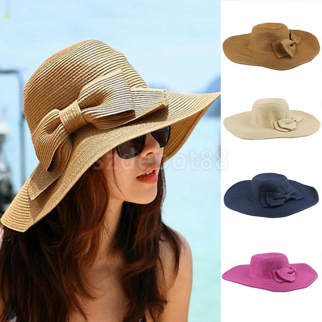 2016 Fashion Summer Straw Hat Cap Women's Ladies Foldable Wide Brim Floppy Beach Hat Bowknot Sun Hat
