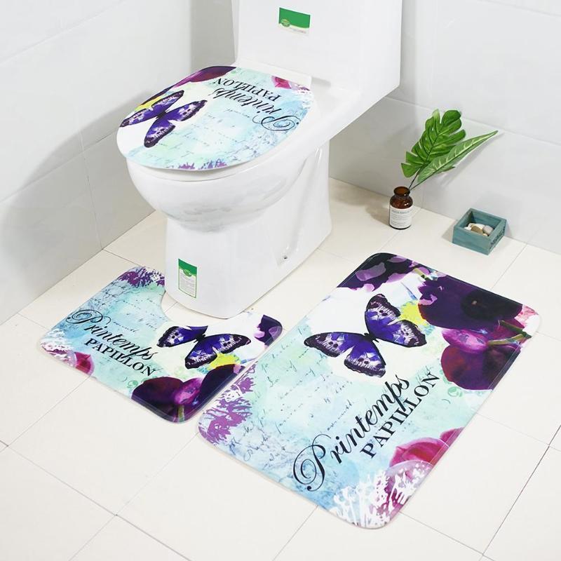 3pcs/set Butterfly Printed Anti Slip Water Absorbent Floor ...