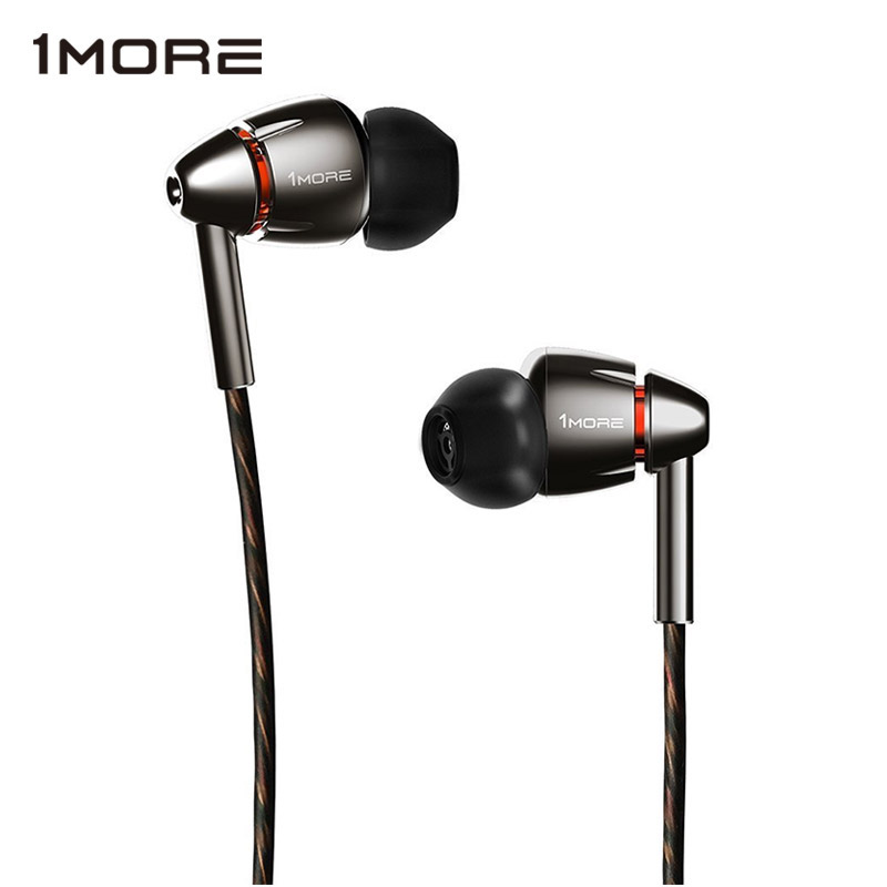 1MORE Quad Driver E1010 In-Ear Earphone Earbuds with Apple iOS and Android Compatible Microphone and Remote Titanium