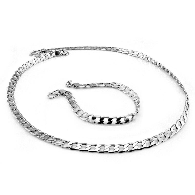 New Fashion Men's 6mm Chain 51cm Necklace 20cm Bracelet Set Special lock 925 sterling silver chain set. Man / boy silver jewelry