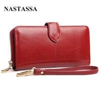 100 Oil Waxing Cowhide Wallet For Women Long Designer Drew String Wallet Holder Women Leather Genuine