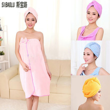 Фотография 4 Colours Magic Girls Hair Drying Hat Quick Dry Towels Lady Turban Microfiber Fabric Absorbent Shower Cap Bath Towel