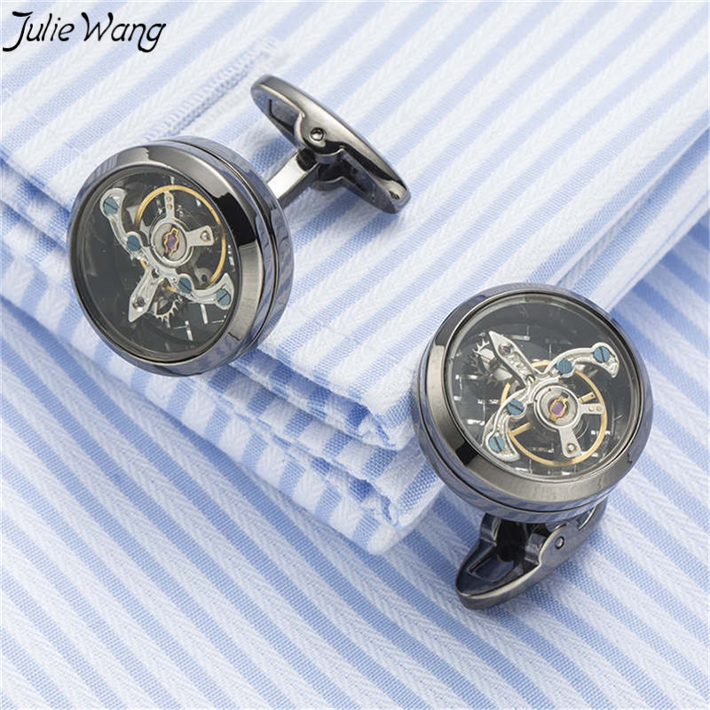 Julie Wang 1pair Classic Color Round Watch Movement Tourbillon Brass With Crystal Decored Cufflinks Men's Daily Commercial Wear