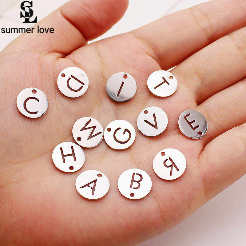 2019 Alphabet Letter Charms A-Z Round Metal Stainless Steel Charm Pendant For Bracelet DIY Making Jewelry Findings 10 Pcs Lot