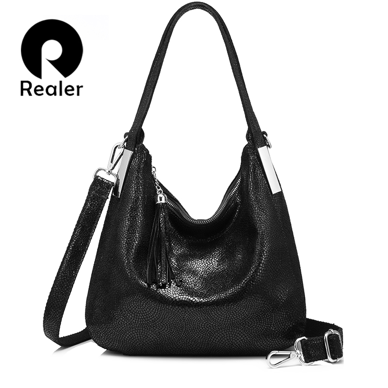 REALER women genuine leather handbags vintage shoulder messenger bags female high quality totes crossbody bag evening bags new