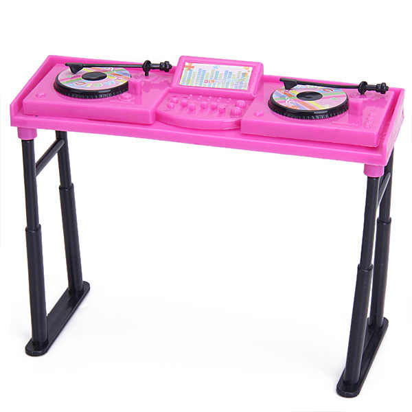 New Arrivals Dollhouse Miniature Shocking Pink Music Console Set For   Doll Collection Kids Classic Toys Dolls Accessories