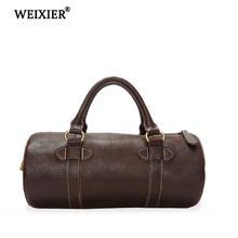 WEIXIER 2019 Handsome Fitness Person Genuine Leather Classic Design Solid Color High Quality Large Capacity Mens Bucket Handbag