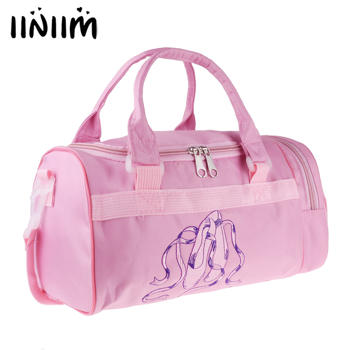 Kids Girls Ballerina Ballet Tutu Slippers Dance Bag Embroidered Toe Shoes Pattern Hand Bag Shoulder Bag with Detachable Strap