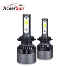 S2 pros H4 LED H7 Car Headlight Super bright Cob Chip 10000LM 76W 6500K Auto LED H4 Hi Lo Beam H1 H3 H11 H8 H9 9005 9006 9012(China)