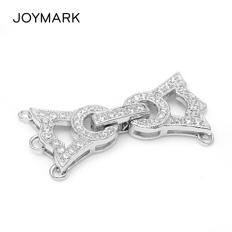 Fine Jewelry Accessories Findings 3 Rows 925 Sterling Silver CZ Stones Connectors Clasps For Necklace Bracelet
