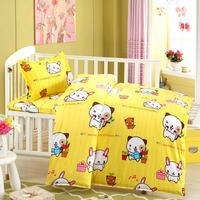 3Pcs Set Cute Baby Nursery Crib Bedding Set Girls Boys Sheet Quilt Pillow Mattress Cover Pillowcase