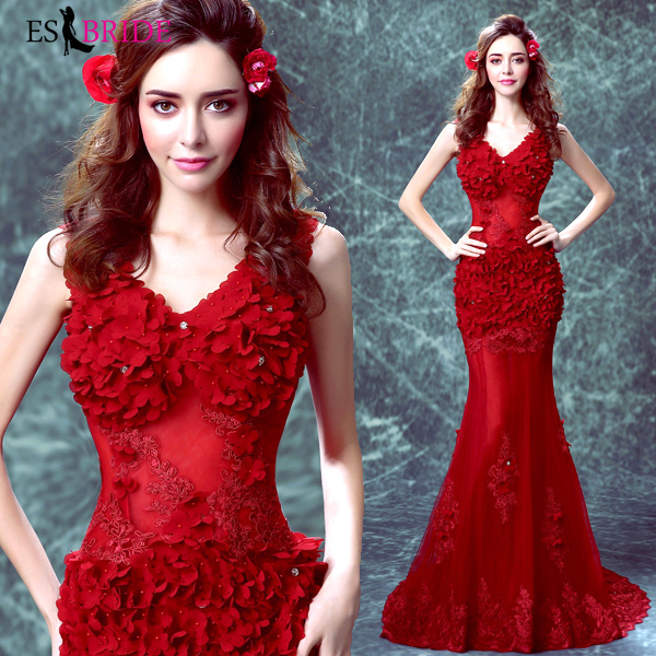 Élégant rouge Robe De soirée longue 2019 robes De soirée dentelle Appliques formelle Robe De soirée profonde col en v Sexy Robe De sirène ES2025