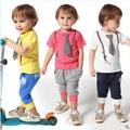Летние детская одежда набор костюм младенца стильный господа летняя одежда повседневная одежда для мальчиков детская одежда
