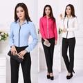 Novo Estilo Uniforme 2015 da Queda do Outono Mulheres de Negócio Trabalho Desgaste Pant Ternos Terninhos Com Conjunto de Roupas Ternos Blusas Blusas Femininas