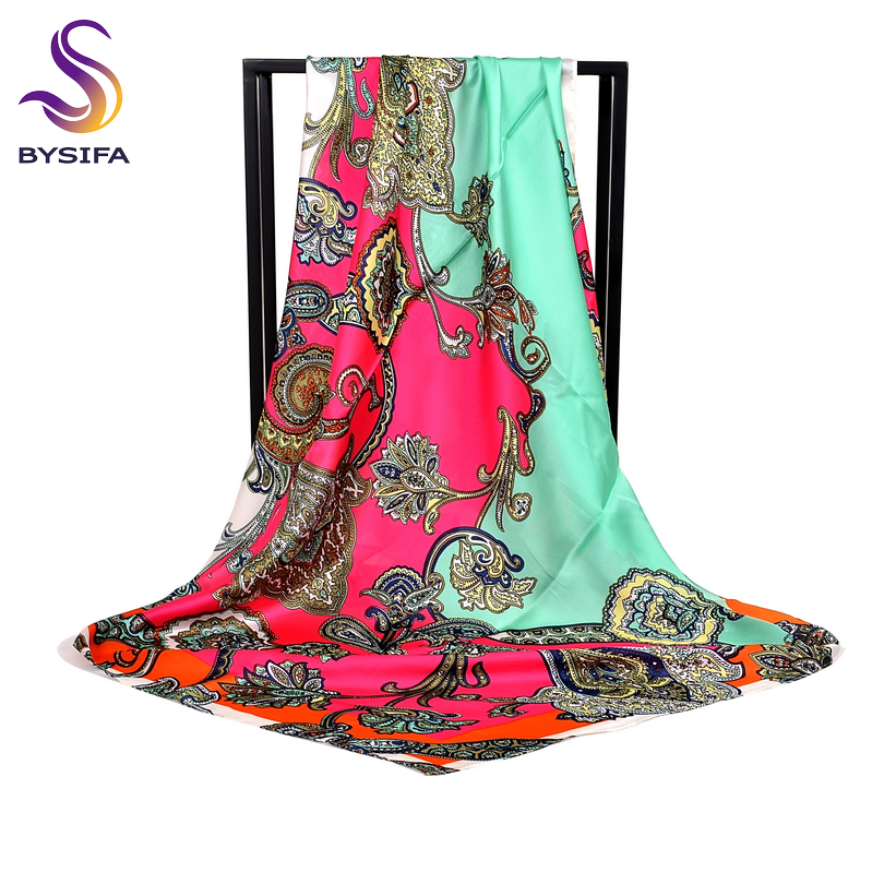 [BYSIFA] Brand Green Pink Silk Scarf Cape New Paisley Large Square Scarves Muslim Headscarves Women Satin Scarf Shawl 110*110cm