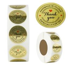"500PCS Gold foil ""Thank You"" Round Sticker,Handmade  wedding decoration Birthday gift wrapping sticker Scrapbook label Sticker"