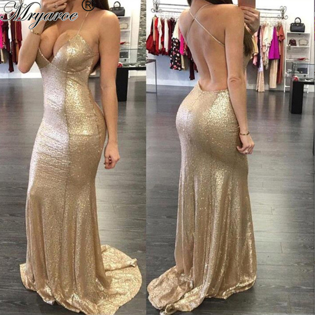 Gold Fitted Prom Dresses