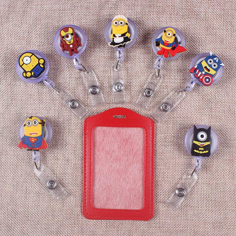 Cartoon Yellow Man The Porte Badge Scroll Nurse Reel Scalable Students Exhibition Entrance Guard Card  ID Card Holder Boy Cards