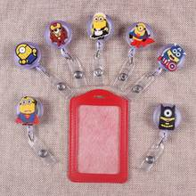 Cartoon Yellow Man The Porte Badge Scroll Nurse Reel Scalable Students Exhibition Entrance Guard Card  ID Holder Boy Cards
