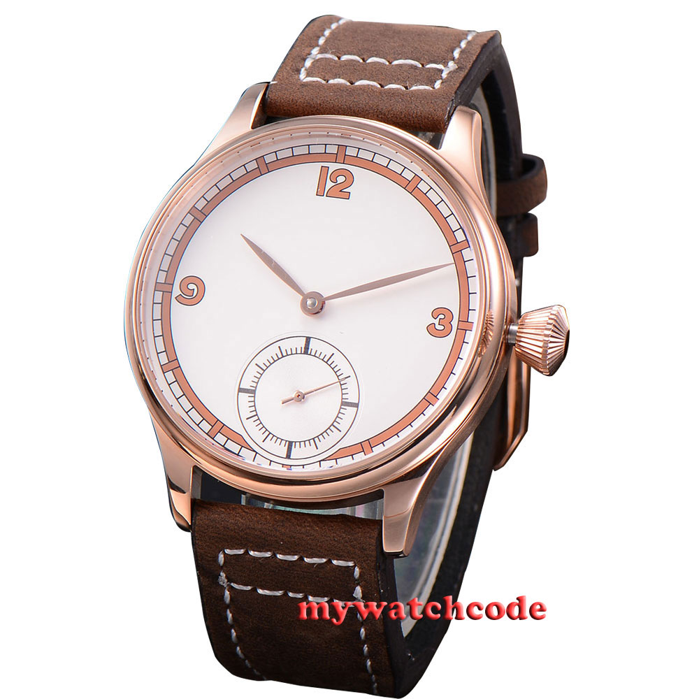 44mm Corgeut white dial rose golden case 6498 hand winding mens wrist watch C19 corgeut 44mm white dial rose golden case hand winding 6498 mens watch