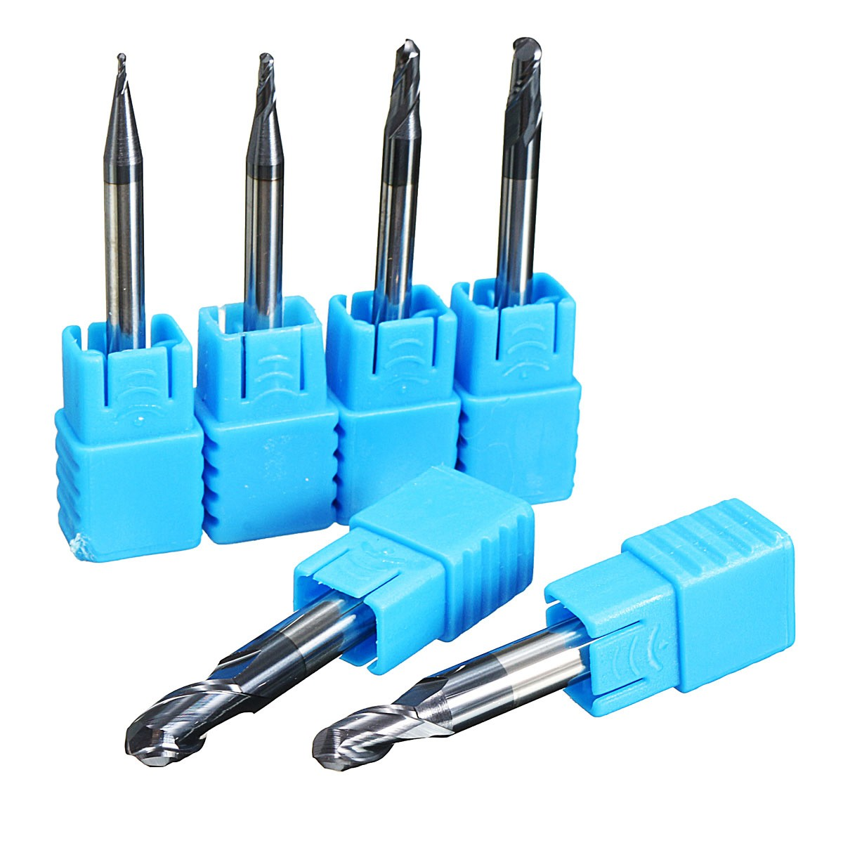цены 6Pcs/set R0.5/1/1.5/2/2.5/3.0MM Nitrogen Coated 2 Flutes Ball Nose End Mill Set CNC Drill Router Bit Tool For The Mill