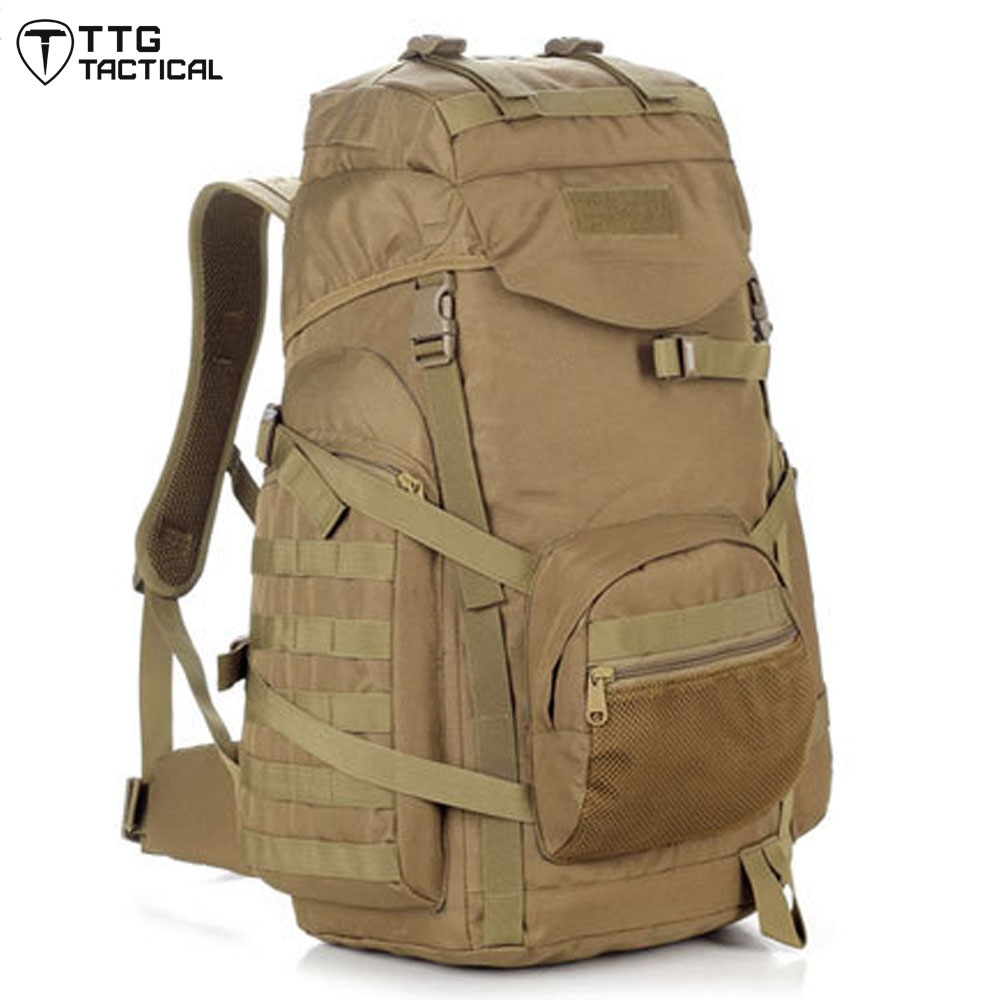 60L MOLLE Nylon Backpack Travel Militray Backpack Assault Heavy Duty Waterproof Backpack