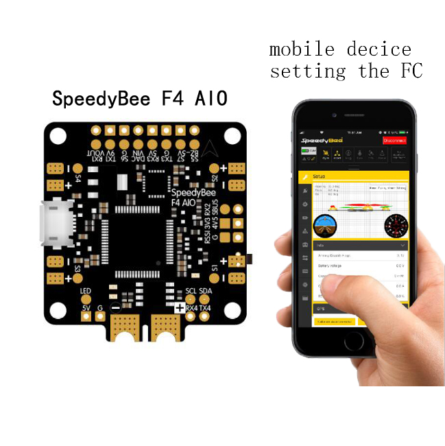 New Arrive SpeedyBee F4 AIO Flight Controller BLE Module Integrated Betaflight OSD Flight Control for FPV Freestyle Racing Drone