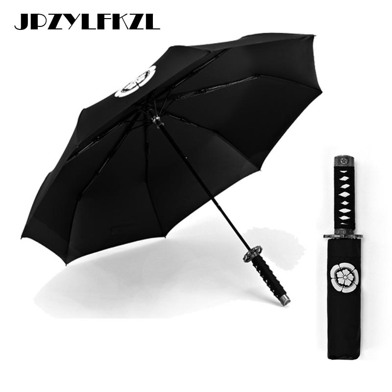 Creative Japanese Samurai Ninja-like Sword Dagger Shape Umbrella Short Handle Black Rain Sun Folding knife Three Fold Umbrellas