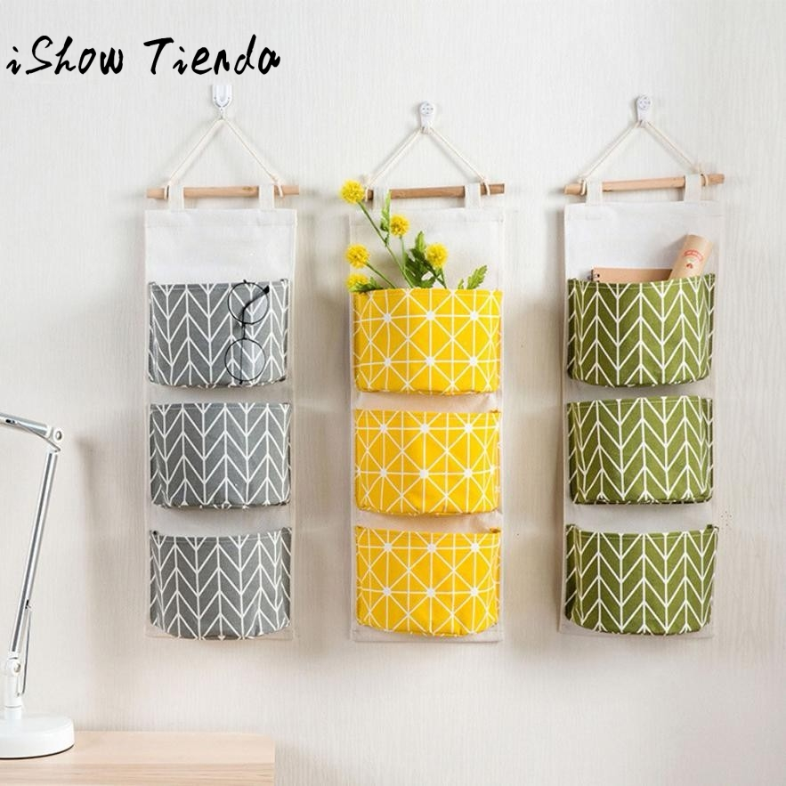 3 Grids Wall Hanging Storage Bag Organizer Toys Container Decor Pocket Pouch Bolsa De Bolsillo Colgante#Q цена