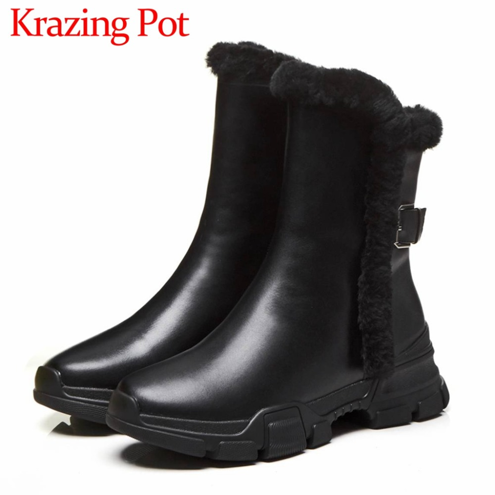 High street fashion winter hot sale snow boots black color cow leather luxury rabbit fur buckle med bottom round toe boots L25High street fashion winter hot sale snow boots black color cow leather luxury rabbit fur buckle med bottom round toe boots L25