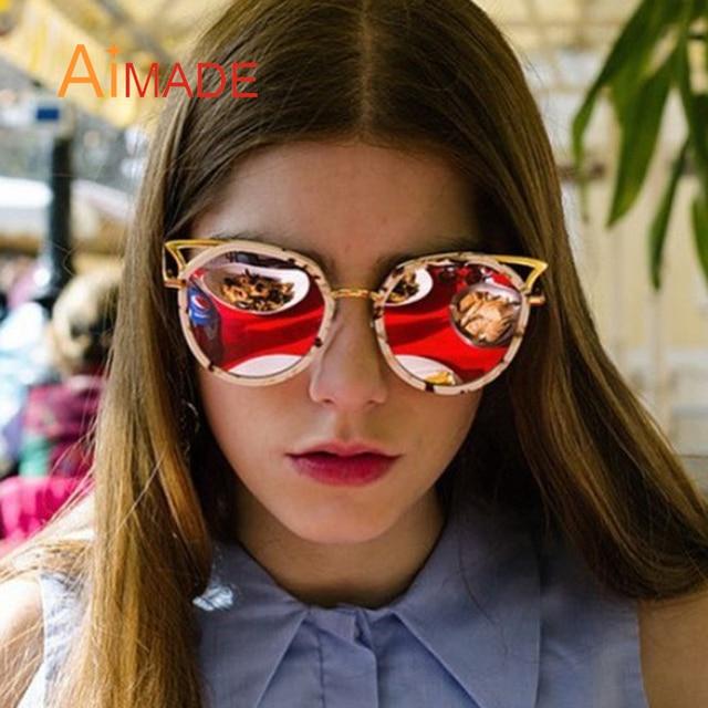 Aimade Cute Big Cat eye Women Sunglasses Fashion Hollow Brand Designer  Mirror Vintage Oversize Cateye Sun cfb065d8a