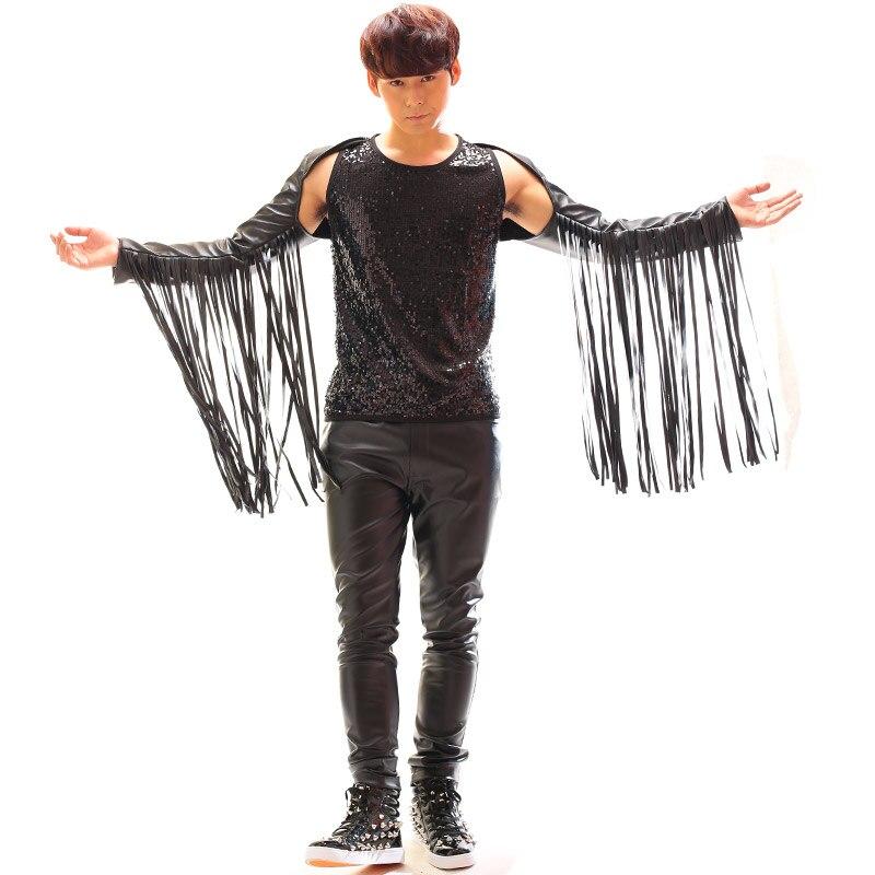 Performance vêtements discothèque mâle chanteur Bar danse cuir gland épaule danse Punk Rock Non-grand public Performance vêtements