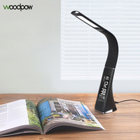5W LED Gooseneck Office Desk Lamp Touch Leather Like Dimmable Reading Table Lamp Light With Alarm Clock Calendar LCD Display