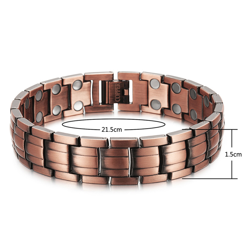 Men 39 s Red Copper Double Row Magnet Bracelet Health Bracelet Copper Bracelet in Chain amp Link Bracelets from Jewelry amp Accessories