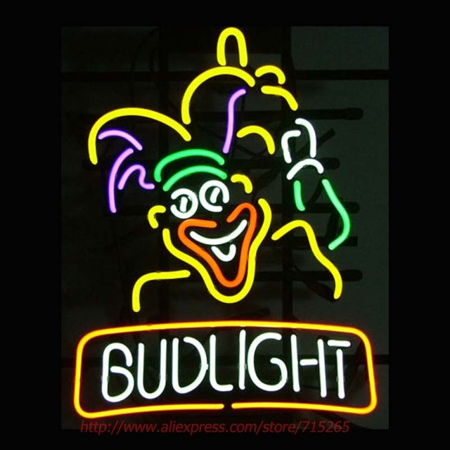 neonlampen clown budlight neon sign lampen real glazen buis handgemaakte bier tekenen bar pub eye kaufen hamburg