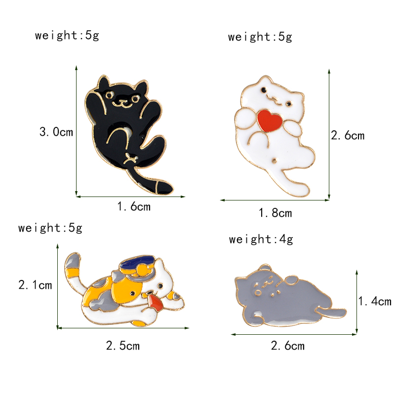 71ed2405a591 4pcs set Japanese Neko Atsume Game Heart Cat Police Cat Enamel Pin Cat  Lapel Pin For Jackets and Backpacks Cat Lover Jewelry-in Brooches from  Jewelry ...