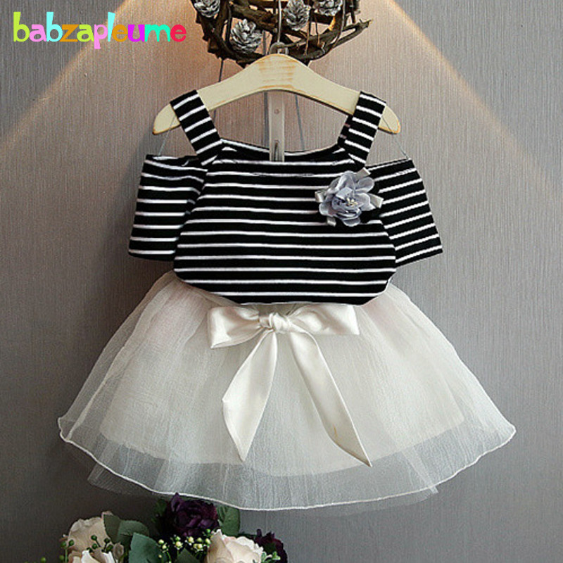 2016 Fashion Summer Children Clothing Sets Baby Girls Clothes Stripe T-shirt+Lace-Skirt Two-Piece Kids Princess Outfits BC1010 hot sale 2016 kids boys girls summer tops baby t shirts fashion leaf print sleeveless kniting tee baby clothes children t shirt