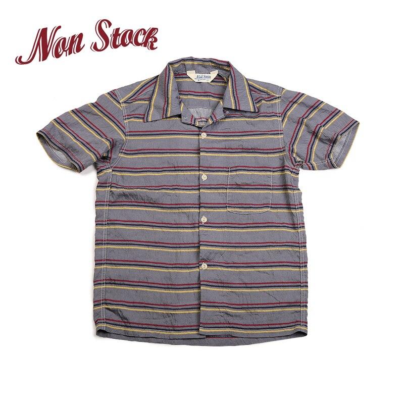2019 NON STOCK été couverture rayé à manches courtes chemises hommes Vintage Tee gris