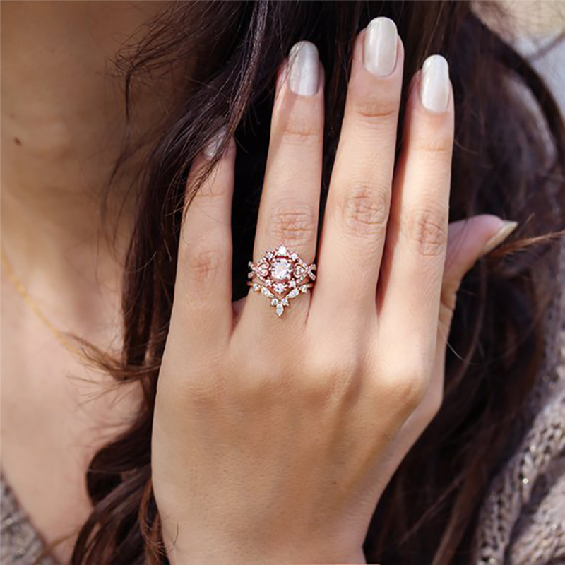 ROMAD Rose Gold Wedding Rings Cubic Zirconia Ring for Women Rings Set Female Engagement Party Statement Jewelry Gift 3Pcs/set R4
