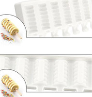 10pcs 8 Cavity Striped Ice Cream Makers Mold DIY Molds Ice Cube Moulds Dessert Molds Tray Popsicle Molds