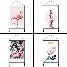 New Flamingo Wall Hanging Tapestry Cloth Nordic Style Cotton Linen Background Art Paintings Pink Girl Room Home Decoration